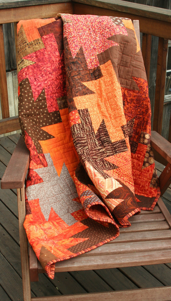 Browns quilt: draped over chair