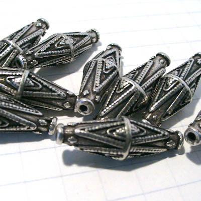 28801754 Metal Beads -  Double Diamond Motif Bicone - Antiqued Silvertone (1)