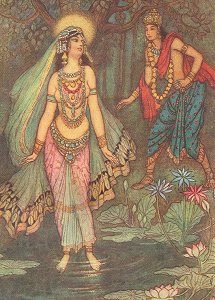 Shatanu meets the Goddess Ganga, by Warwick Goble (Public Domain Image)