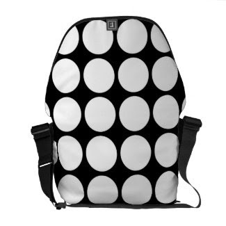 White Polka Dots on Black Courier Bags