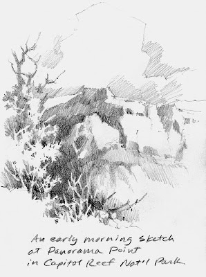 Roland Lee sketch book drawing of Panorama Point at Capitol Reef