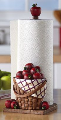 Red Apple Kitchen Paper Towel Holder forthe kitchen. #apples #countrystyle