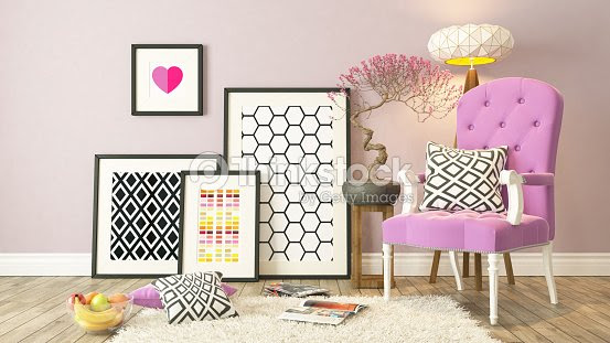 Black Picture Frames Decor With Pink Bergere Background Stock Photo