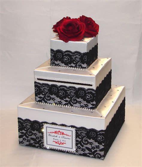 White Wedding Card Box Black lace design Red Roses rhinestone