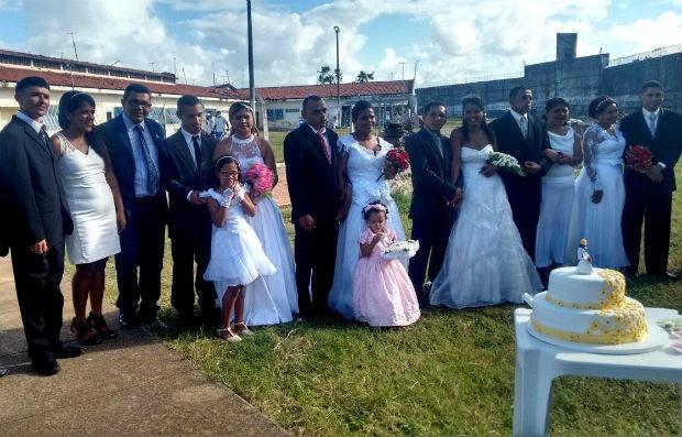 Casamento aconteceu na tarde desta sexta (20) na Penitenciária de Alcaçuz (Foto: Geider Henrique Xavier/Sejuc)