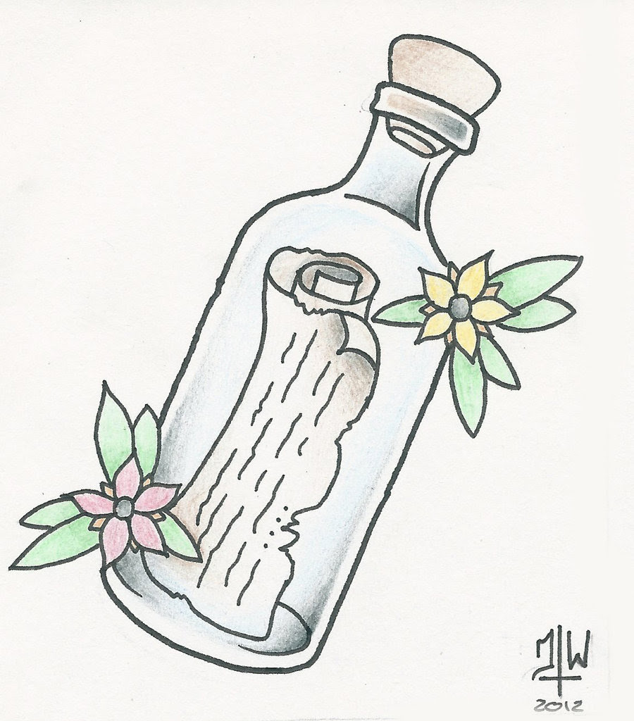 Message In A Bottle Tattoo Clip Art Library
