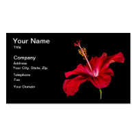 Red Hibiscus Flower Side View Double-Sided Standard Business Cards (Pack Of 100)