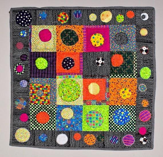 """Art Quilt Wall Hanging Bright Circle Motif """"Facing Circles"""""""