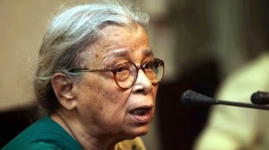 noted writer and social activist mahasweta devi. *** Local Caption *** noted writer and social activist mahasweta devi. Express archive photo Partha Paul