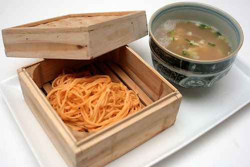 Freshly handmade noodles with egg soup