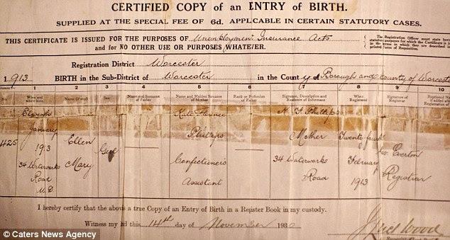 Ellen certificado de nascimento, onde sua mãe tem o nome, mas seu pai não é