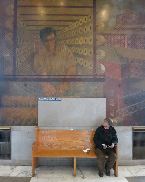 The walls of the Bronx General Post Office are ornamented with 13 giant murals. They were painted in the 1930s by Ben Shahn and his companion, Bernarda Bryson.