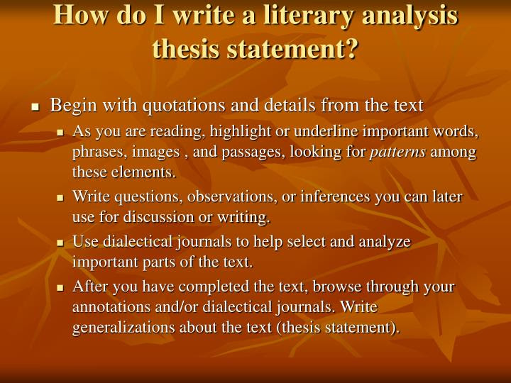 how to write a thesis statement ppt