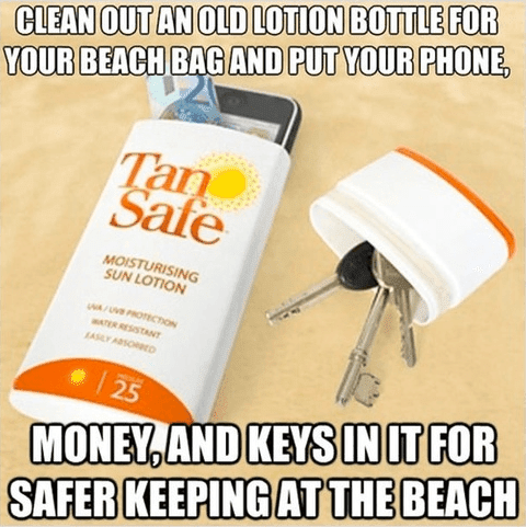 clean out an old lotion bottle for your beach