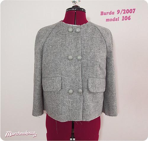marchewkowa, szafiarka, żakiet, lata 50, tweed, szycie, Burda 9/2007, retro, vintage