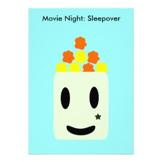 It's Movie Night All Night: Sleepover Personalized Invites