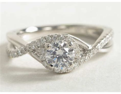 Petite Twisted Halo Diamond Engagement Ring in 14k White