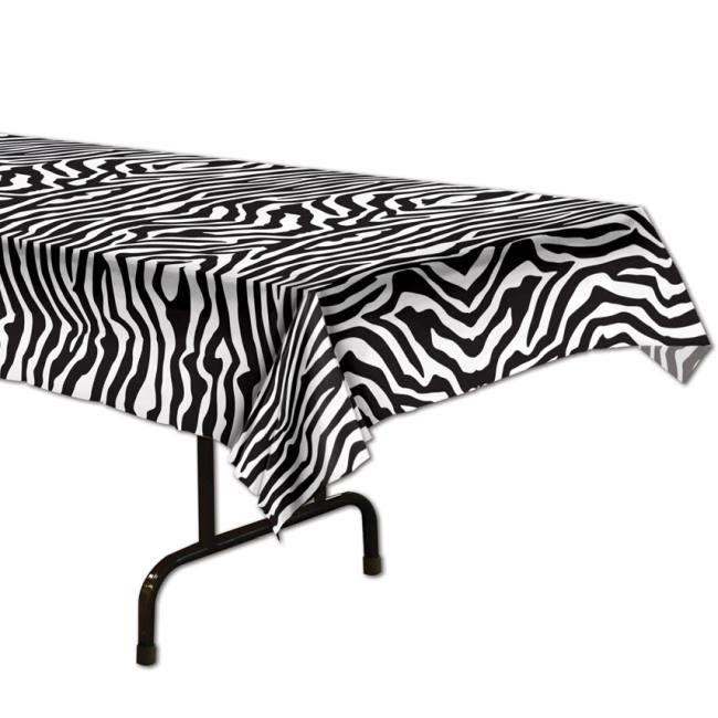 Zebra Print Plastic Tablecloth: Tablecloths & Table Skirts