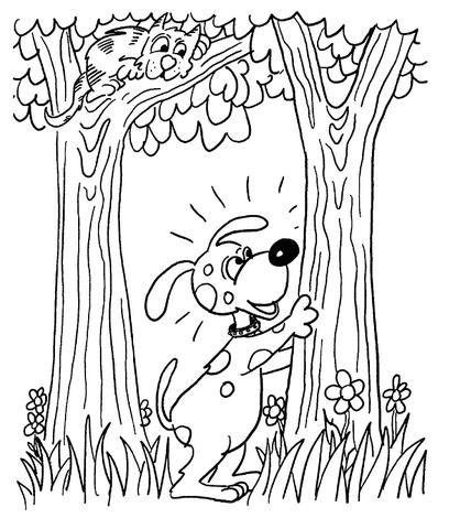 Dibujo De Perro Con Gato En El Bosque Para Colorear Dibujos Para