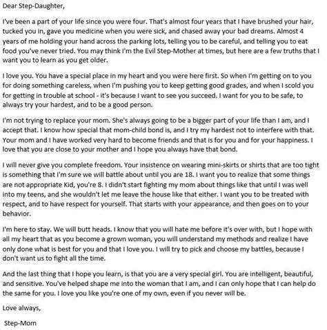 A Letter to my Step Daughter. ******Found this online and