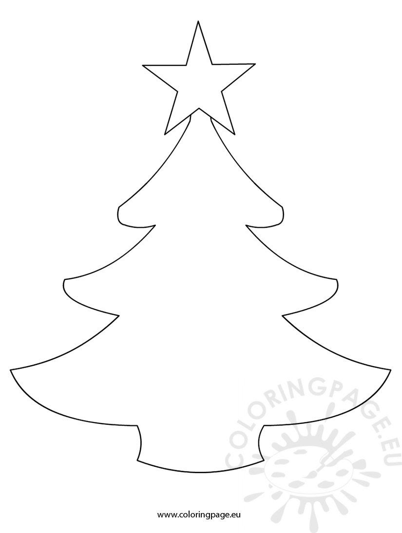 Simple Christmas tree template - Coloring Page