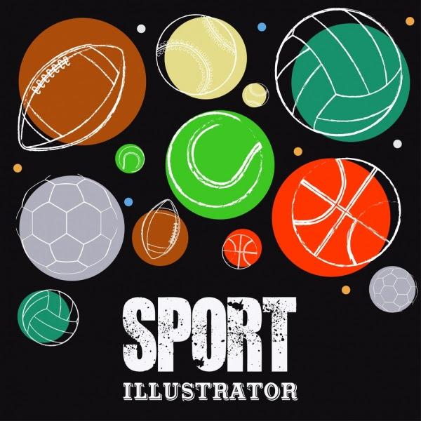Olahraga Latar Belakang Bola Ikon Sketsa Vektor Icon Vektor Gratis