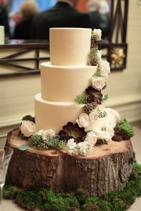 Gorgeous Rustic All White Cake with Sage and White Flowers