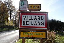 Panneau d'entrée de Villard de Lans.
