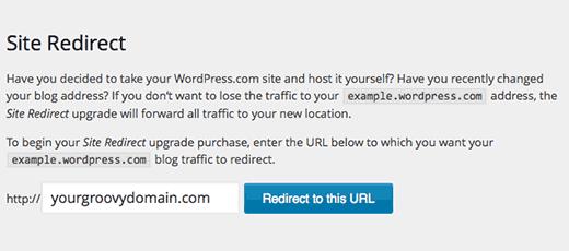 WordPress.com site redirect