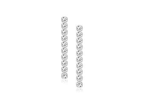 White CZ Line Drop Earrings in 14K White Gold   Richard