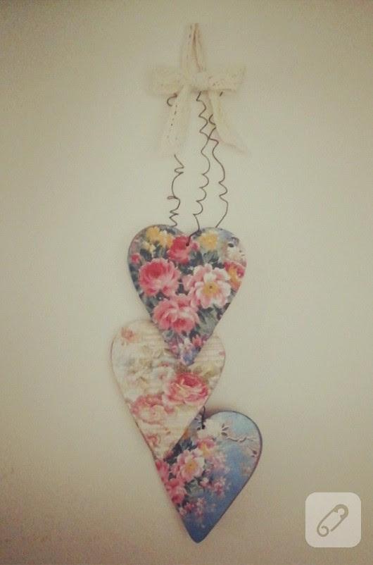 Güllü Kalpler Ahşap Duvar Süsü 10marifetorg