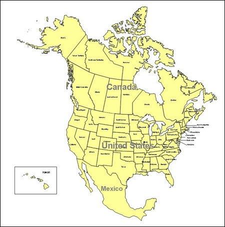 Editable North America PowerPoint Map