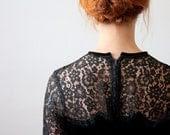 1950's dress - black 50's lace dress - Thrush