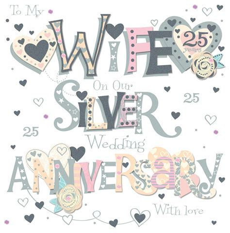 Wife Silver 25th Wedding Anniversary Greeting Card   Cards