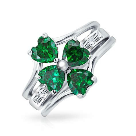 Simulated Emerald Four Leaf Clover Sterling Silver Stacked