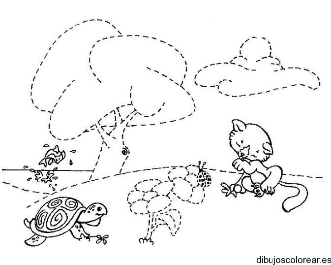 Dibujo De Las Mascotas En El Jardin
