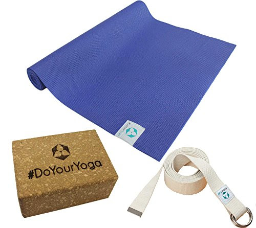 Yoga kit: yoga mat of TPE 183 x 61 x 0.3 cm (blue) includes cotton yoga belt and cork block