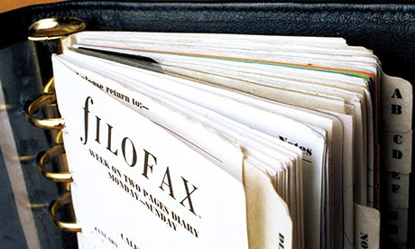 filofax open to front page