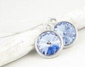 Winter Earrings Ice Blue Earrings Cold Swarovski Crystal Earrings Sterling Silver Jewelry Light Sapphire