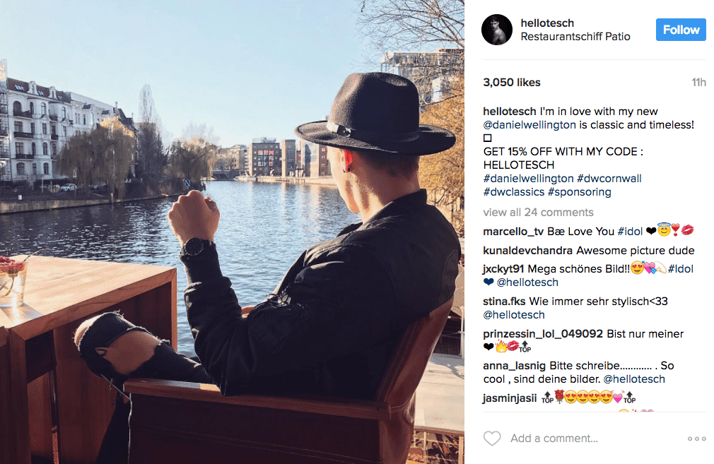 Instagram influencer marketing by Daniel Wellington