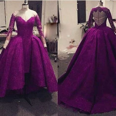 Real Image Purple Vintage Lace Evening gowns Long Sleeve