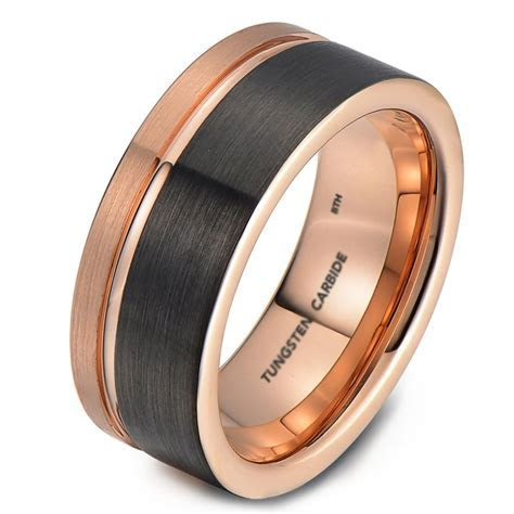 Mens Tungsten Wedding Engagement Band With Rose Gold