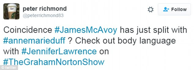 Social media reaction: Several Graham Norton fans noted the Scottish star's 'body language' with JLaw