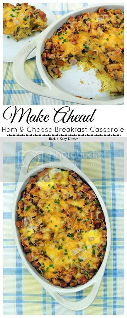 Make Ahead Ham and Cheese Breakfast Casserole -  Super easy and perfect for Easter, Christmas, or anytime you want to serve a fabulous breakfast to your family. | www.bobbiskozykitchen.com
