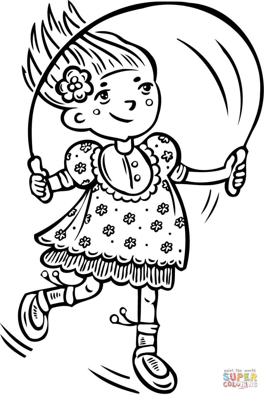 Dibujo De Niña Saltando A La Cuerda Para Colorear Dibujos Para