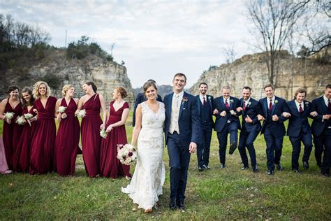 Fall bridal party outdoor wedding photos. Burgundy, pink
