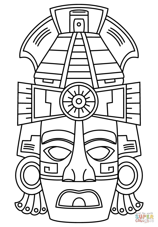 Dibujo De Máscara De Cara Maya Para Colorear Dibujos Para Colorear