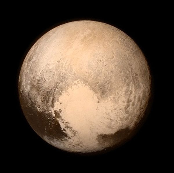 An image of Pluto that was taken by NASA's New Horizons spacecraft from a distance of 476,000 miles (768,000 kilometers) on July 13, 2015.