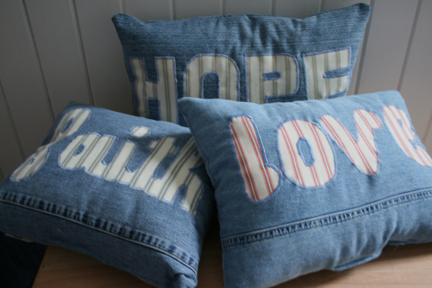 set of three denim pillows, faith/hope/love pillows, OOAK