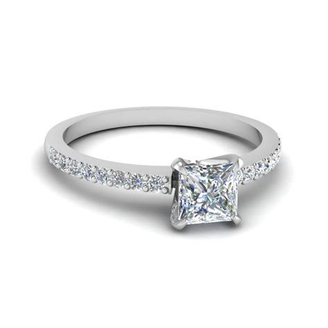 Simple Princess Cut White Gold Engagement Ring